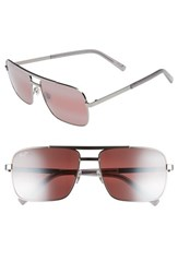 Maui Jim Compass 60Mm Polarized Aviator Sunglasses Silver Neutral Grey Silver Neutral Grey