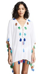 Bindya Lace Up Tunic With Triple Tassels White With Multi