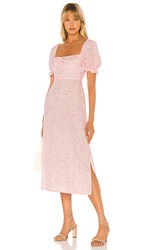 Faithfull The Brand Evelyn Midi Dress In Pink. Dusty Floral Pink