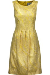 Lela Rose Pleated Metallic Cloque Dress Chartreuse