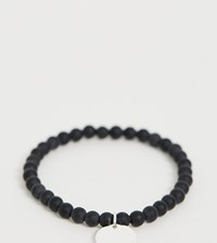 Thomas Sabo Sterling Silver Beaded Bracelet With Attached Charm Black