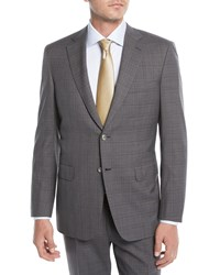 Brioni Plaid Wool Two Piece Suit Gray