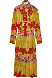 Gucci Floral Print Silk Crepe De Chine Dress Red
