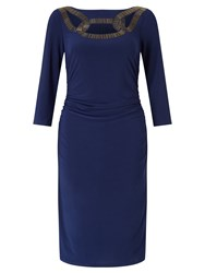 Adrianna Papell 3 4 Sleeve Cocktail Dress Navy
