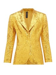 Norma Kamali Single Breasted Sequinned Blazer Gold