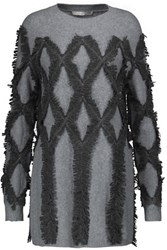 Jonathan Simkhai Embellished Fringed Wool Sweater Gray
