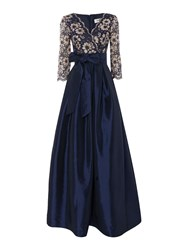 Eliza J 3 4 Sleeve Ballgown With Lace Bodice Navy