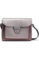 Brunello Cucinelli Smooth And Textured Leather Shoulder Bag Lilac