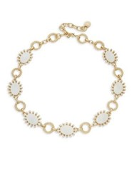 Design Lab Lord And Taylor Mother Of Pearl Crystal Oval Link Necklace Gold