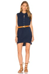 Stateside Silk Noil Sleeveless Mini Dress Blue