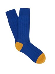 Pantherella Scott Nichol Oxford Ribbed Knit Socks Blue