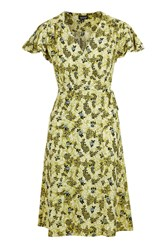 Topshop Ditsy Floral Wrap Midi Dress Ochre