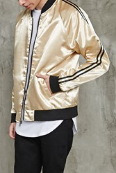 Forever 21 Satin Bomber Jacket Gold Black