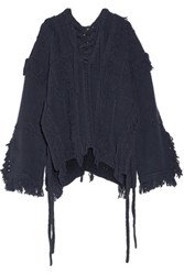 3.1 Phillip Lim Lace Up Fringed Open Knit Sweater Midnight Blue