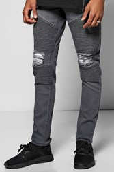Boohoo Fit Biker Jeans With All Over Rips Charcoal