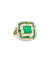 Nm Estate Jewelry Collection Estate Edwardian Three Row Emerald And Diamond Dinner Ring