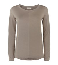 Hanro Long Sleeve Yoga Top Female Taupe