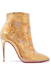 Christian Louboutin Booty Cap 100 Pvc And Metallic Crinkled Foil Ankle Boots Gold