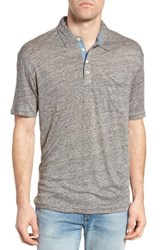 True Grit Men's Colorblock Linen Jersey Polo Dark Heather