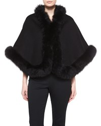 Neiman Marcus Cashmere Collection Cashmere Fox Trim Short Cape Black