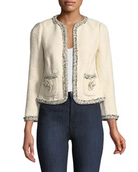 Rebecca Taylor Braided Tweed Jacket With Floral Appliques Neutral Pattern