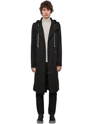 Rick Owens Double Breast Canvas Trench Coat W Hood Black