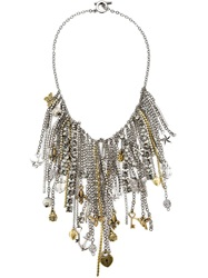 Vera Wang Multi Chain And Charms Necklace Grey