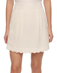 Tommy Hilfiger Scalloped Crepe Skirt Ivory