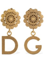 Dolce And Gabbana Small Logo Pendant Clip On Earrings Gold