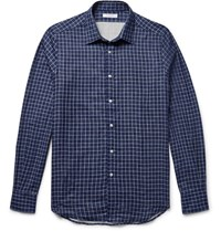 Boglioli Slim Fit Double Faced Checked Cotton Shirt Navy