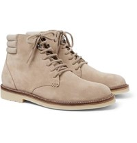 Loro Piana Icer Walk Cashmere Trimmed Suede Boots Beige