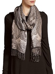 Saks Fifth Avenue Light Weight Fringe Trim Scarf Chocolate
