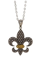 Dani G Jewelry White And Yellow Gold Vermeil Fleur De Lis Pendant Necklace Metallic