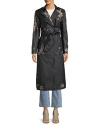 Bcbgmaxazria Floral Embroidered Faux Leather Trench Coat Black