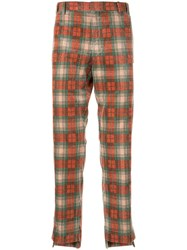 Wooyoungmi Corduroy Checked Trousers Orange