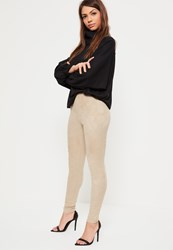 Missguided Nude Faux Suede Panel Detail Leggings Tan
