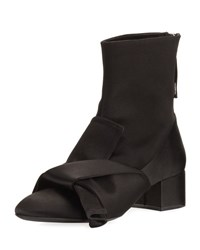 N 21 Satin Bow Block Heel Boot Black