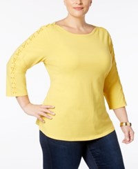 Charter Club Plus Size Lace Up Sleeve T Shirt Created For Macy's Tuscan Gold