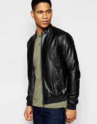 Armani Jeans Bomber Jacket In Faux Leather Black