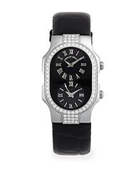Philip Stein Teslar Diamond And Stainless Steel Dual Dial Watch Black