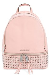 Michael Michael Kors 'Rhea Zip Grommet' Leather Backpack Pink Pale Pink Silver