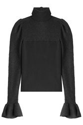 Giambattista Valli Virgin Wool Turtleneck With Ruffled Cuffs Black