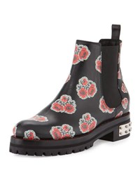 Alexander Mcqueen Flower Print Leather Chelsea Boot Black Multi Red Black Pattern