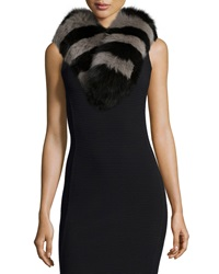 Charlotte Simone Candy Stripe Fox Fur Collar Black Gray