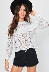 Missguided White High Neck Lace Frill Blouse