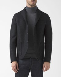 Harris Wharf London Flecked Anthracite Boiled Wool Unstructured Boxy Jacket Grey