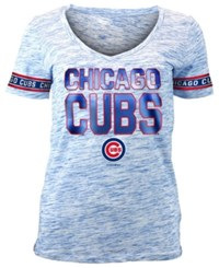 5Th And Ocean Women's Chicago Cubs Plus Space Dye Sleeve T Shirt Royalblue