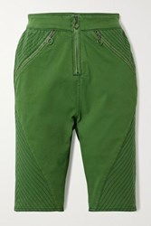 House Of Holland Stretch Organic Cotton Twill Shorts Green