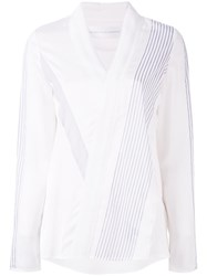 Victoria Beckham V Neck Blouse Women Silk Cotton Polyester Viscose 8 White