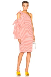 Msgm Bow Pinstripe Dress In Pink Stripes Pink Stripes
